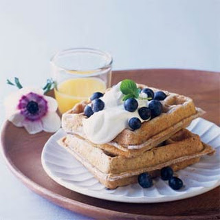 Blue Corn Waffles with Lavender Cream and Fresh Blueberries.