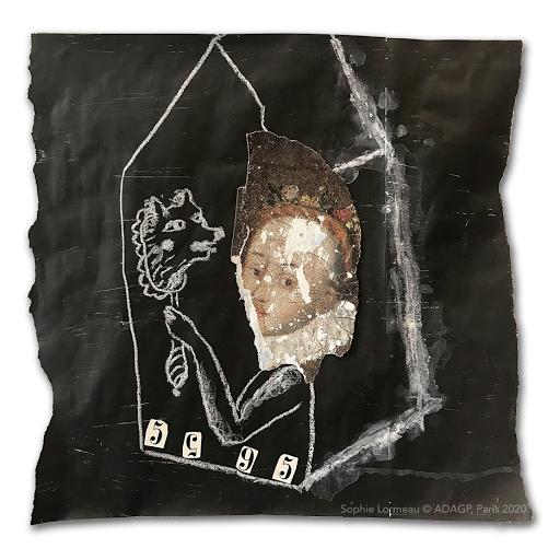 no-future-sophie-lormeau-2020-28x29-technique-mixte-papier-magazine-collage-upcycling-peinture-renaissance-miniart-chiffres-miroir-loup-portrait-femme-ambiguité-metamorphose-noir-blanc-black-white-art-contemporain-singulier-adagp-paris-ombre-BD-©