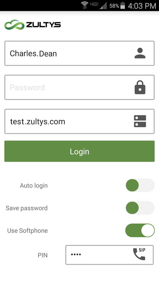 Zultys Mobile- screenshot