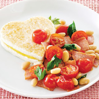 Bacon, Lima Bean and Tomato Salad with Grilled Cheese