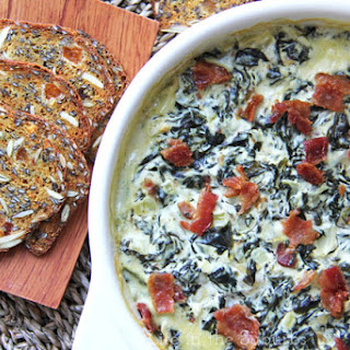 Baked Goat Cheese & Bacon Spinach Dip.