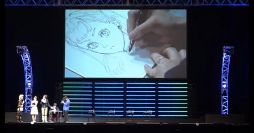 Yuuki Tabata en proceso de dibujo.