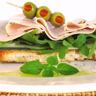 Cucumber Bruschetta  with Arugula and Turkey Ham.