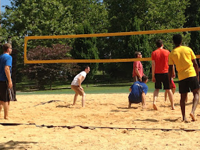 Photo: Playing volleyball between sessions in MD