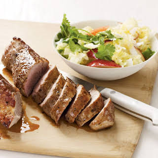 Pork Tenderloin with Cabbage and Apple Slaw.