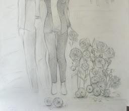 Photo: Flore ou les amants-2 (150*100 cm) mine de plomb