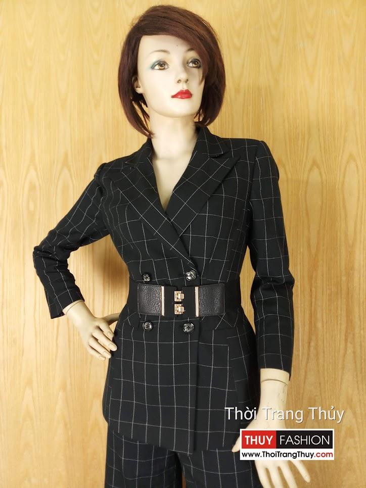 Áo blazer nữ kẻ caro và quần culottes V635 Thời Trang Thủy