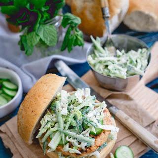 Indian Chicken Burgers with Yogurt Cucumber Slaw Recipe