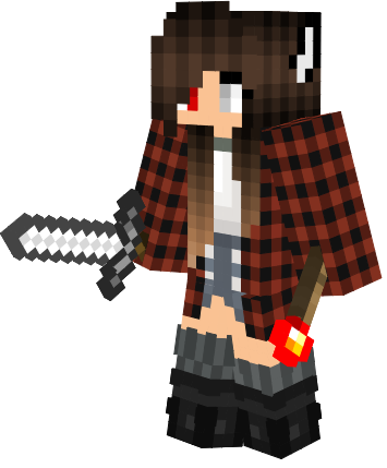 Cute Red Flannel Wolf Girl With Red And Grey Eyes Nova Skin