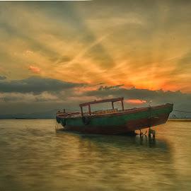 Sunset at Panjang Porth. Lampung. Indonesia by Ignatius Winarto - Transportation Boats ( indonesia, sunset, boats, landscape photography, boat, landscapes, landscape, photo, photography, photooftheday )