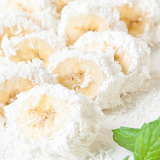 Banana Bited Covered with Coconut Shavings.