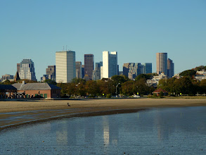 Photo: View from Quincy over the beach to Downtown Boston.