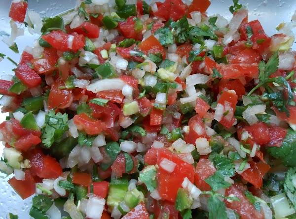 Make a batch of pico de gallo.http://www.justapinch.com/recipes/sauce-spread/salsa/pico-de-gallo-7.html Let sit in colander for a little while...