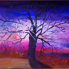 sunrise by Paul Robin Andrews - Painting All Painting ( colourful, silhouette, sunrise, oil painting, oak tree )