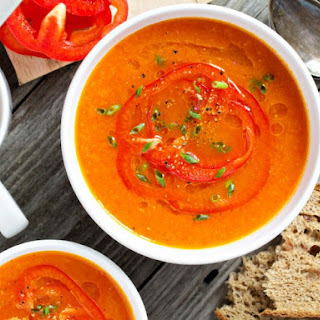 Copycat TGI Friday's Fire-Roasted Red Pepper Soup.