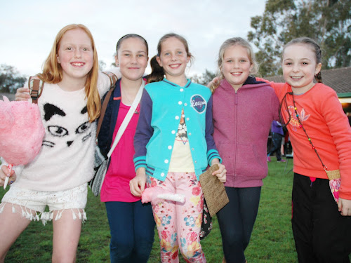 HAVING A BALL: Enjoying the evening at the Narrabri West Public School fete on Friday night were Bridie Russell, 10, Zahli Olding, 10, May Dansey, 9, Baylee Kelly, 9, and Paige Hetherington, 9.