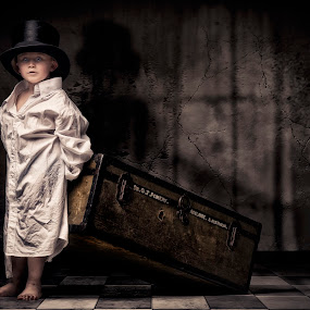 Mom i'm moving out by Jan Kraft - Babies & Children Child Portraits ( boy wall night window shadow floor cute hat  bag shirt )