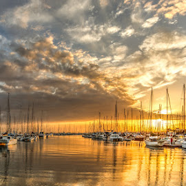Sunrise by Dom Del - Transportation Boats ( boats, sunrise )