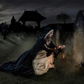 Good Night My Love by KT Allen - Digital Art People ( latern, digital art, digital manipulation, grave yard, grave, lich gate, gravestone, composite )