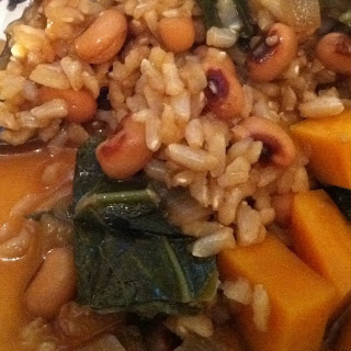 Spicy Rice Bake with Collard Greens, Black-Eyed Peas, and Sweet Potato.