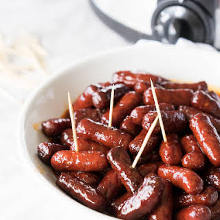 Slow Cooker Raspberry Chipotle Little Smokies.