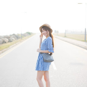 Road to you by Billy C S Wong - People Portraits of Women ( look back, girl, beauty, road, sun,  )