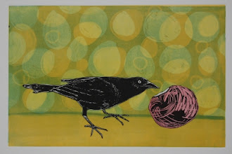 """Photo: Lucky Find II, 11 x 16"""", monotype with woodcut"""