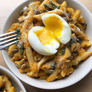 Pasta with Roasted Butternut Squash Sauce & Soft Boiled Egg..