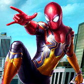 Flying Amazing Iron Spider Superhero Fighting
