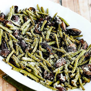 Roasted Green Beans with Mushrooms, Balsamic, and Parmesan.
