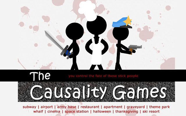 the games feature each level that is a scenario of stickmen going about their daily activities your job is to kill all of them - Causality Halloween Walkthrough