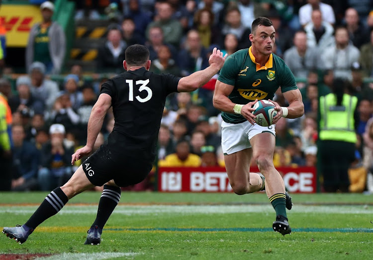 Jesse Kriel of South Africa runs at Ryan Crotty of New Zealand during the 2017 Castle Lager Rugby Championship match between South Africa and New Zealand at Newlands Stadium, Cape Town on 7 October 2017.