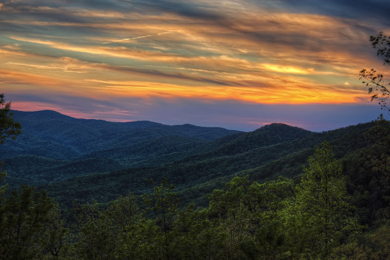 Photo: Yet another view of the Smokey mountains just after the sun has set