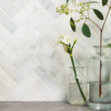Fired Earth's Shelter Island Harbour view tiles (marble look/herringbone)