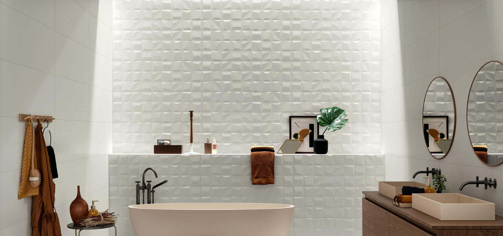 Bathroom wall with a three-dimensional white mosaic tile grid