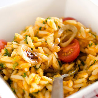 Creamy Vegan Orzo with Caramelized Onions and Kale.