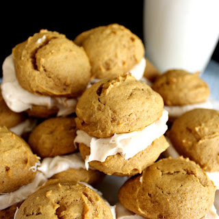 Mini Pumpkin Whoopie Pies with Cinnamon Cream Cheese Icing