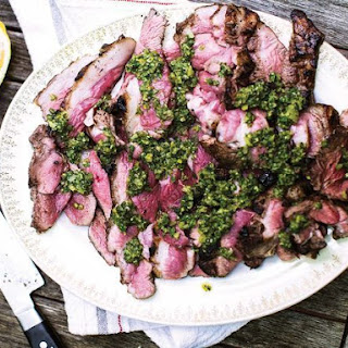 Grilled Lamb Sirloin with Salsa Verde.