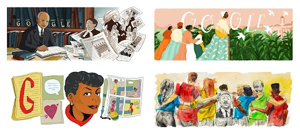 U.S. Google Doodles created in partnership with Black guest artists over the years. Starting at the top, from left to right: Carter G. Woodson (illustrated by Shannon Wright), Sojourner Truth (Loveis Wise), Jackie Ormes (Liz Montague), and Martin Luther King Jr. Day 2020 (Dr. Fahamu Pecou)