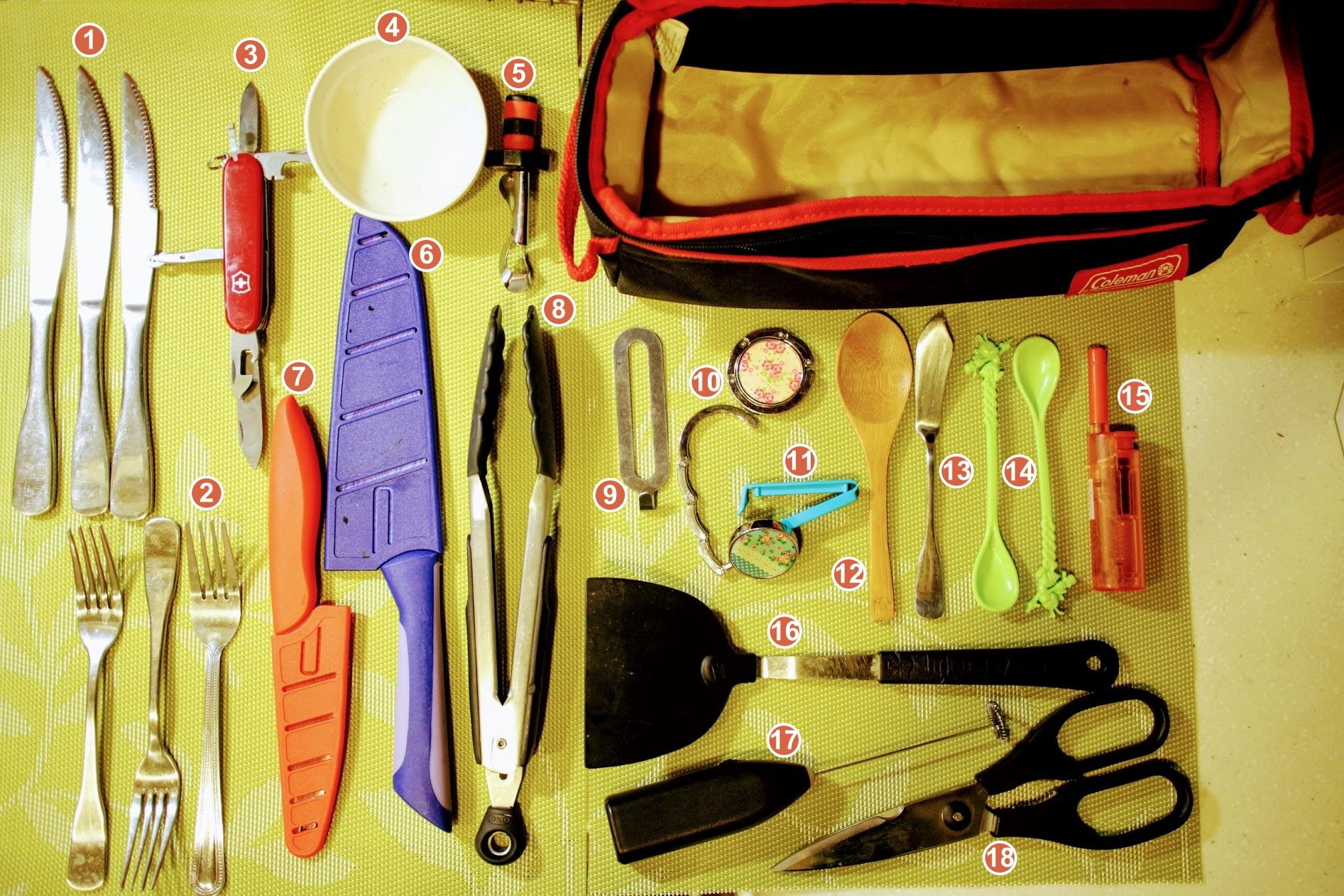 露營。如何收納餐具及廚房工具 - 邁向慵懶人生