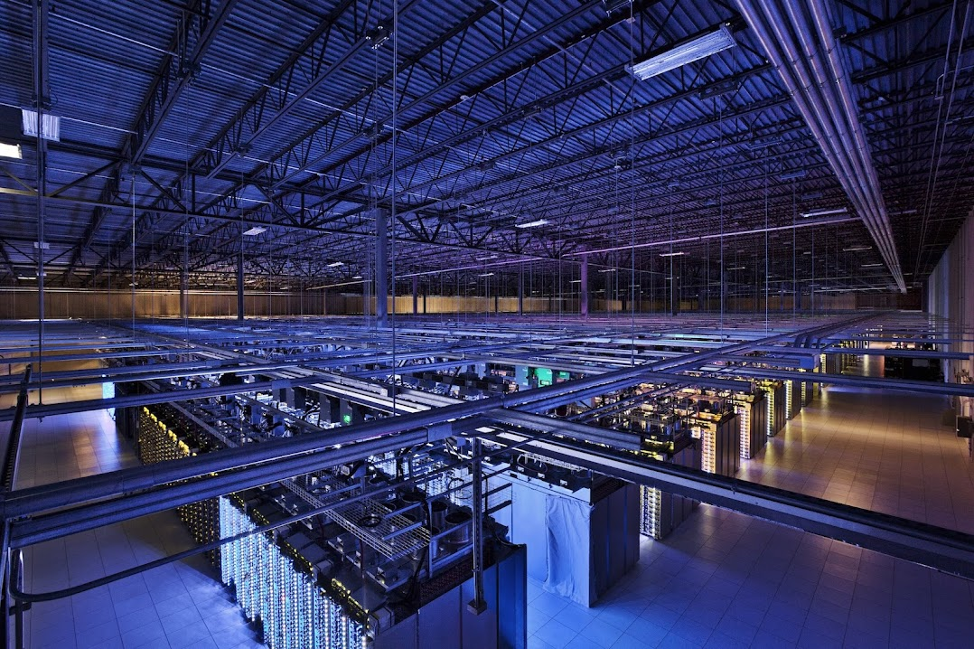 Inside a server room in the Council Bluffs data center