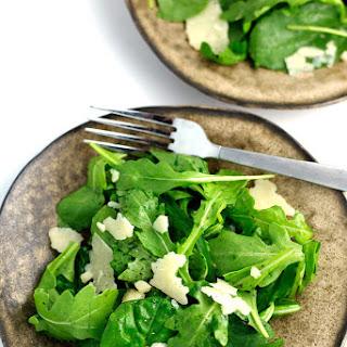 Arugula Spinach Salad with Lemon, Olive Oil, and Parmesan.