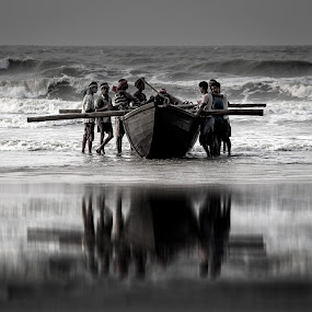 DEATH RACE by Suman Sengupta - Landscapes Beaches ( raw, reflection, sea, india, storm, boat, Travel, People, Lifestyle, Culture )