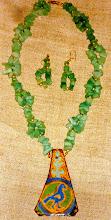Photo: Copper enamel pendant, aventurine, 14K gold vermeil  SOLD/ПРОДАНИЙ