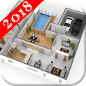 3D Home design layout icon