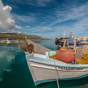 Fish boat ΓΑΛΑΞΙΑΣ by Grigoris Koulouriotis - Transportation Boats ( sky, greece, sea, boat, fishing boat,  )