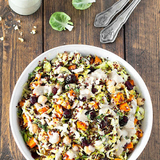 Chopped Brussels Sprout Quinoa Salad with Walnut Dressing