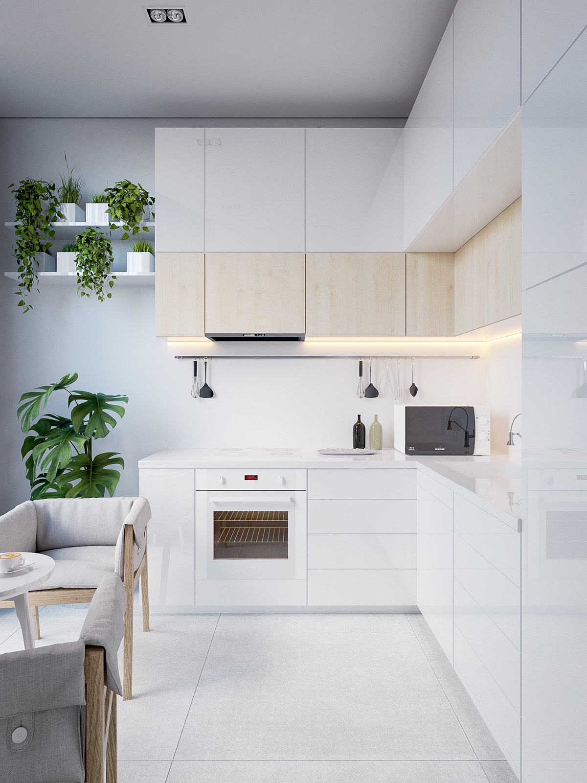 Desain Interior Dapur Skandinavia Serba Putih – source: pinterest.com