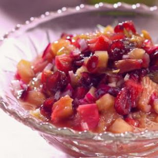 Chunky Apple-Rhubarb Sauce with Dried Cranberries