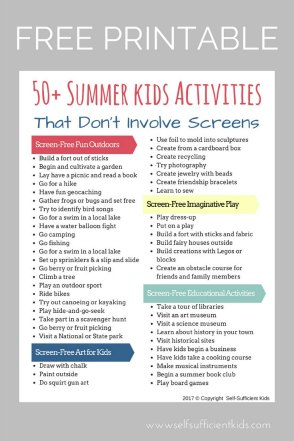 50+ Screen-free summer activities for kids